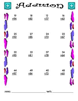 Addition Worksheet - 2 + 2 VALENTINE THEME