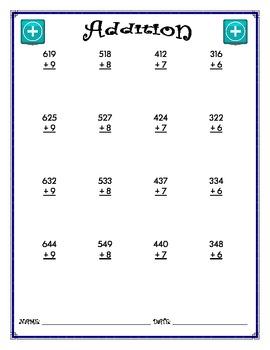 Addition Worksheet - 3 + 1