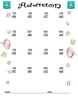 Addition Worksheet - 3 + 2 CHRISTMAS THEME