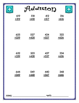 Addition Worksheet - 3 + 3