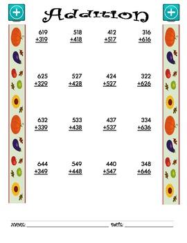 Addition Worksheet - 3 + 3 FALL THEME