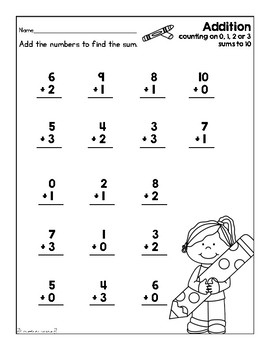 Addition Worksheet (Back to School) by First Grade Fanatics | TpT