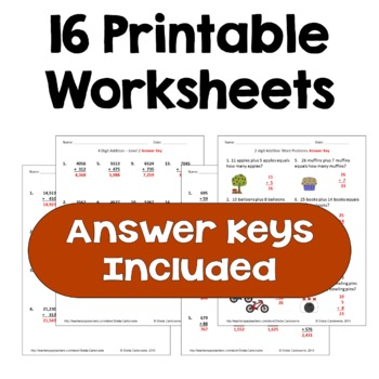 Multi Digit Addition Worksheets (Differentiated)