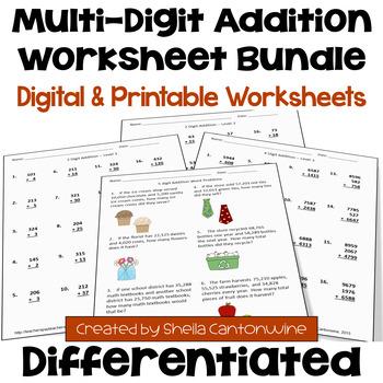 Addition Worksheet BUNDLE (3 Levels)