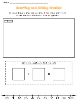 Addition Worksheet. Counting and Adding Circles! by Alexis Leon | TpT