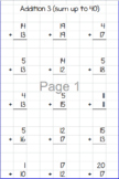 Addition Worksheet Generator (with options for a sum of up