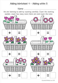 Addition Worksheet Pack - add by counting pictures