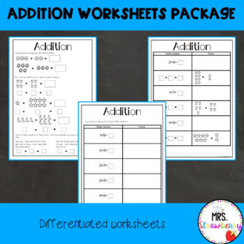 Addition Worksheet Package - Grade 1/ Year 1