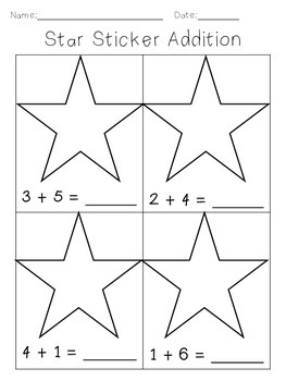 Sticker Addition Worksheet - Up to 10