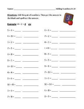 Addition Worksheet Using Numbers Zero to Twenty (0-20)