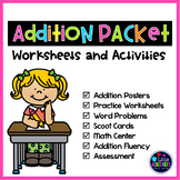 Addition Worksheets for Kindergarten and Addition Centers