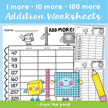 Addition Worksheets {1, 10 and 100 more}