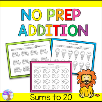 No Prep Addition Worksheets by The Teaching Rabbit | TpT
