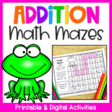 Addition Activities - Math Mazes Worksheets for Addition F