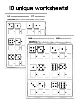 Addition Worksheets: Dice Composing