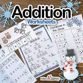 Addition Worksheets-Kindergarten (works with distance learning)