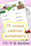 Addition Worksheets! Level 1 of 5. Color & Blacklines with Answer Key