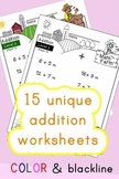 Addition Worksheets! Level 2 of 5. Color & Blacklines with Answer Key