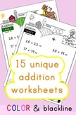 Addition Worksheets! Level 3 of 5. Color & Blacklines with