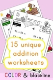 Addition Worksheets! Level 4 of 5. Color & Blacklines with