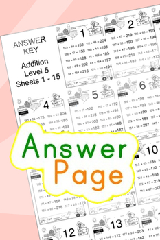 Addition Worksheets! Level 5 of 5. Color & Blacklines with Answer Key
