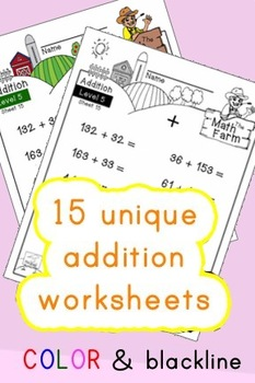 Addition Worksheets! Level 5 of 5. Color & Blacklines with