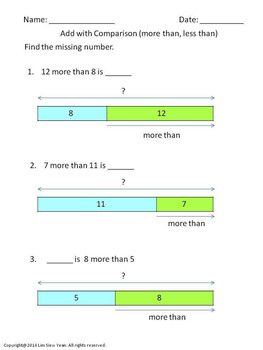 1st Grade Math Worksheets Add With Bar Models Tape Diagrams