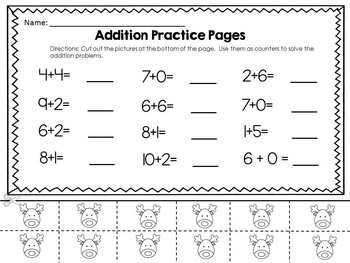 Addition Worksheets With Counters - Christmas Theme