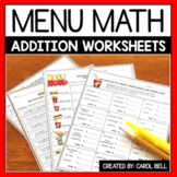 Addition Money Worksheets and Word Problems Menu Math Distance Learning