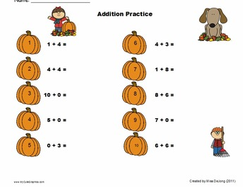 Addition Worksheets - self-generating (10 questions per pa