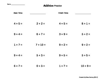 Addition Worksheets - self-generating (20 questions per page) by ...
