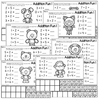 Addition Worksheets with Ten Frame and Counters