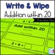 Addition Write and Wipe: Addition within 20