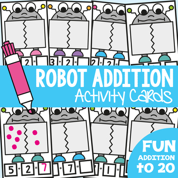 Addition Write n Wipe Cards - Robot Addition