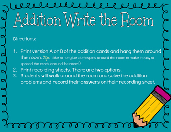 Addition Write the Room