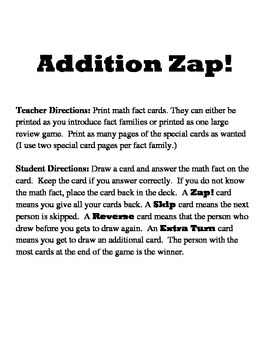 Addition Zap Game