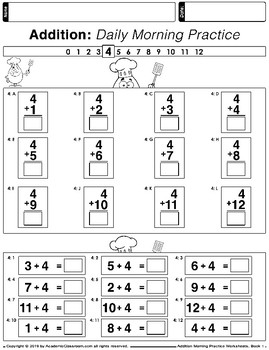 Addition Zero - Twelve Practice Worksheets {Core Curriculum Learning Support}