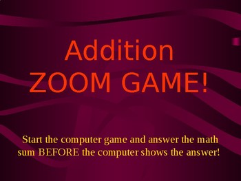 Addition Zoom Game (Fluency)