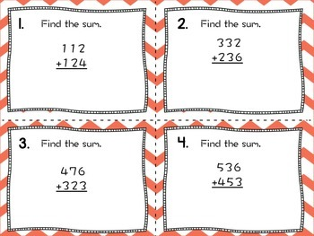 Addition and Estimation Task Cards