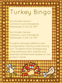 Addition and Multiplication Fact Fluency Bingo (Thanksgivi