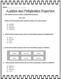 Addition and Multiplication Properties SOL 3.20