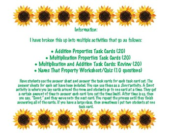 Addition and Multiplication Properties Task Cards Packet