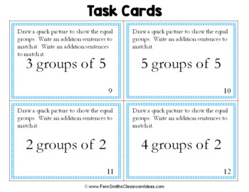 3rd Grade Go Math 3.2 Relating Addition and Multiplication Task Cards
