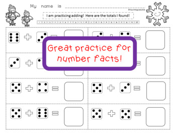 Addition and Number Sense Worksheets Snow Theme