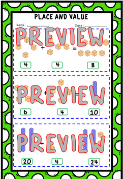 Addition and Place Value Worksheets With Block