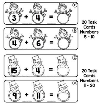 Addition and Related Math Facts - Winter Edition