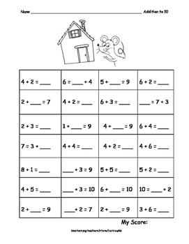 Addition and Subtraction to 10 Inc. Missing Addends: Practice: Fluency: Seuss