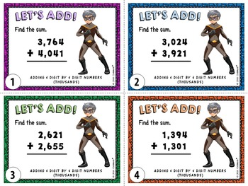 Addition and Subtraction Task Cards (from Thousands up to Hundred Millions)