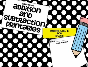 Ready to Go Addition and Subraction Word Problems K.OA.1 and K.OA.2