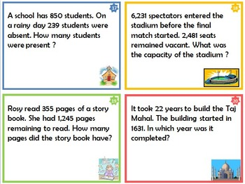 Addition and Subtraction Word Problems - Task Cards for Grade 3 & 4